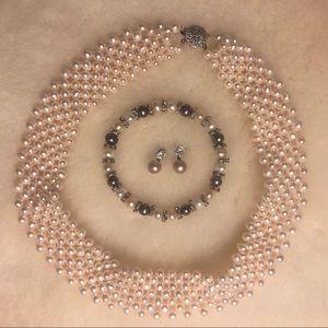 Jewelry - Pearl Jewelry Set 3 Pc Necklace Bracelet Earrings